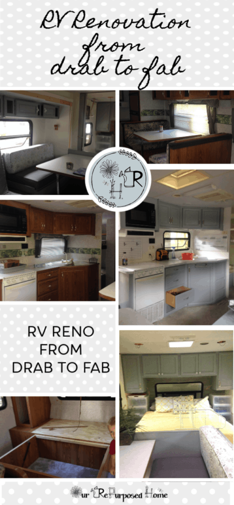 pinterest pin describing our camper remodel with before and after pictures