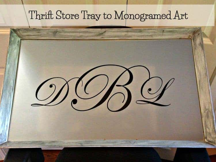 Monogrammed art from a thrift store tray