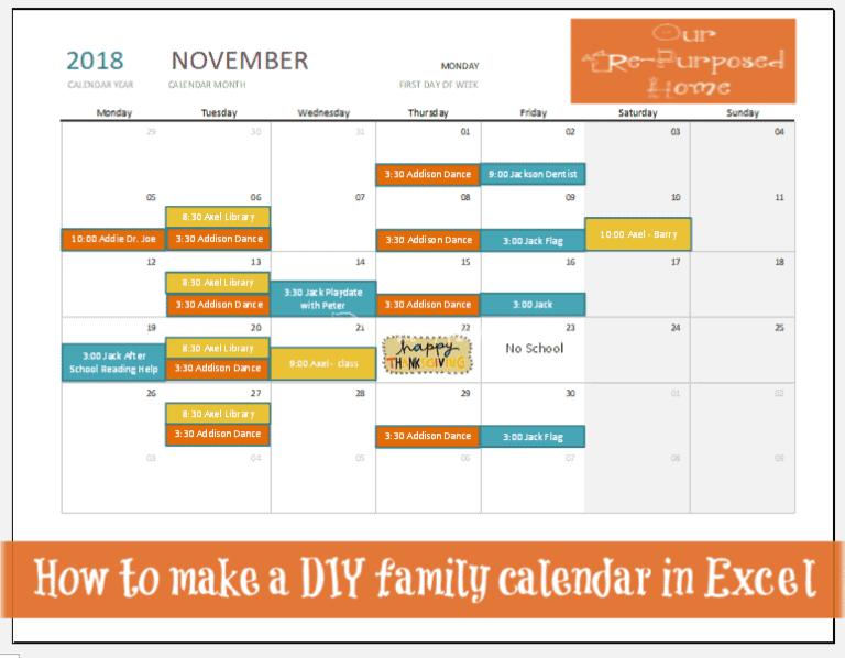 Excel DIY family calendar