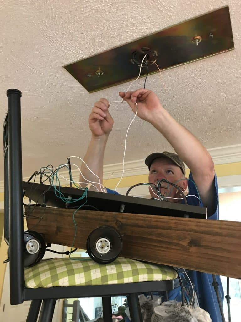 how to attach your wires from the planter box to the ceiling plate