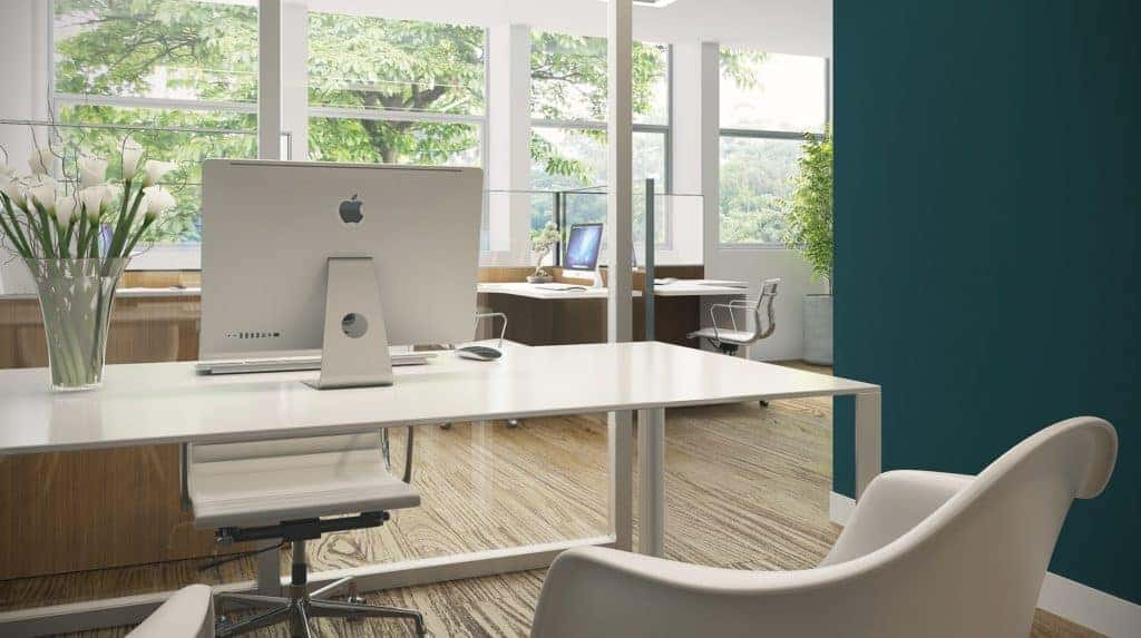uncluttered office - how to make a small room feel bigger