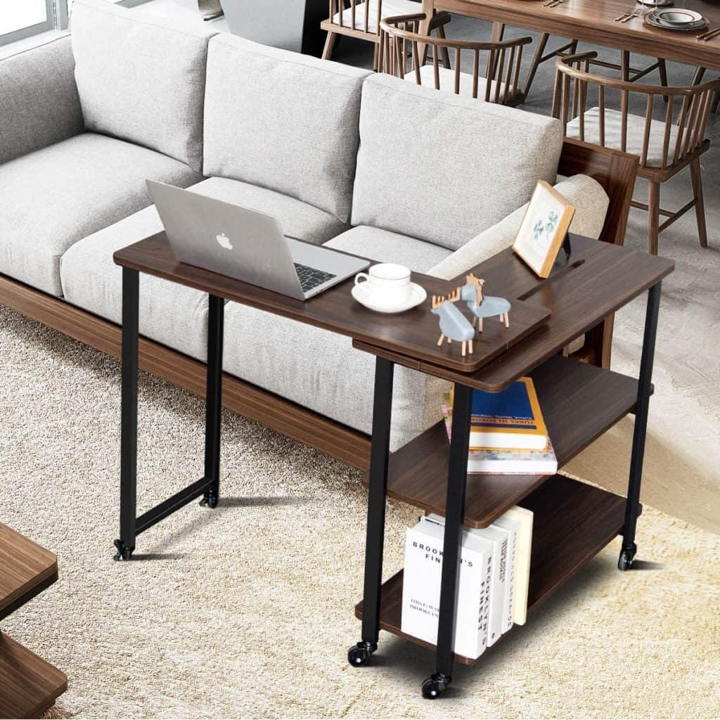RV desk ideas, sliding, convertible shelving