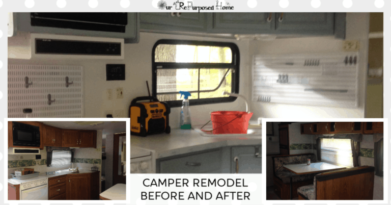pinterest pin image of a camper remodel before and after pictures