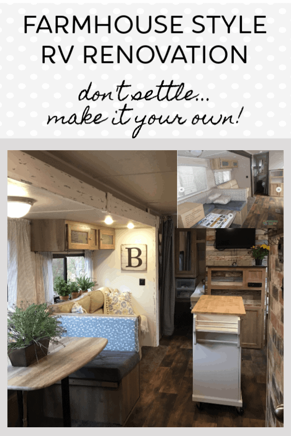 RV renovation before and after of our travel trailer renovation into the farmhouse style