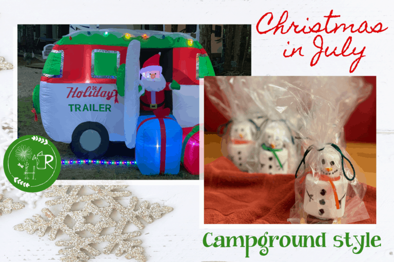 Christmas in july at camp. Images of santa in camper blow up and s'moresmen treats