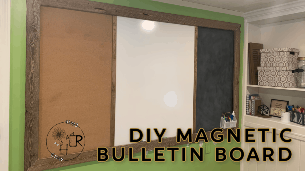 DIY magnetic bulletin board with magnetic chalk board, cork board, and dry erase board