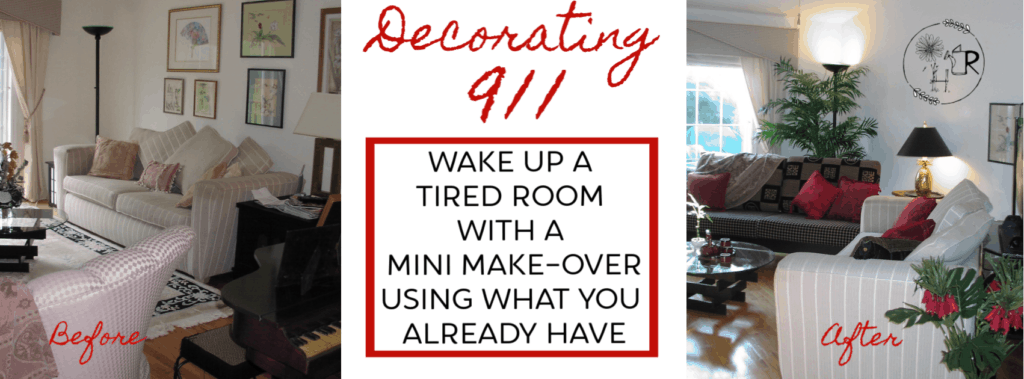before and after of a redesigned room- easy DIY home decorating ideas