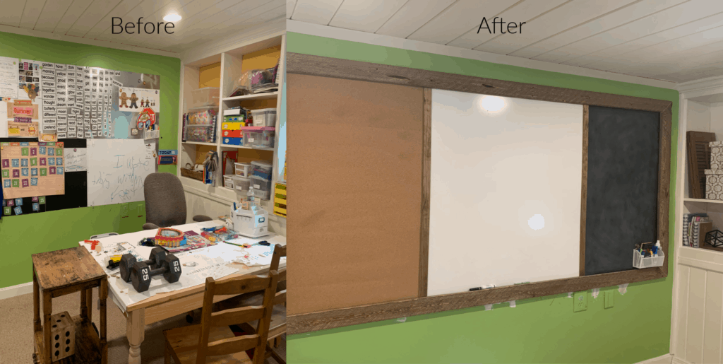before and after pics of a new DIY magnetic bulletin board with magnetic chalk board, cork board and white board