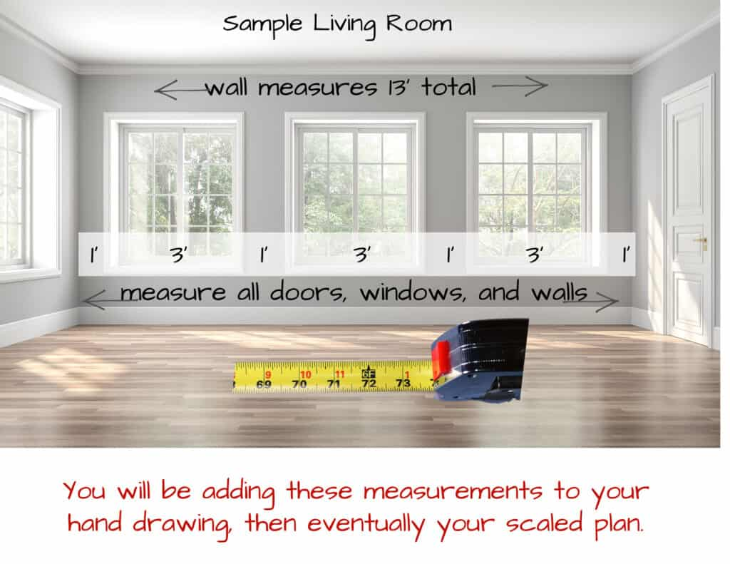 empty room with tape measure and measurments
