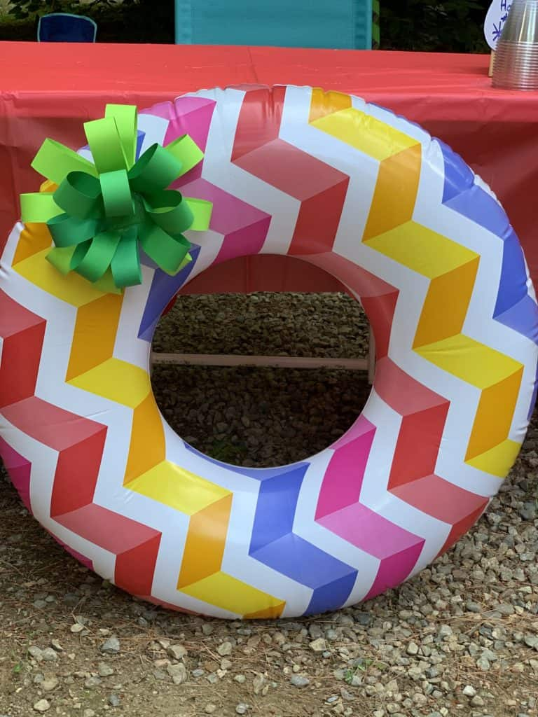 pool noodle wreath for our christmas in july at camp