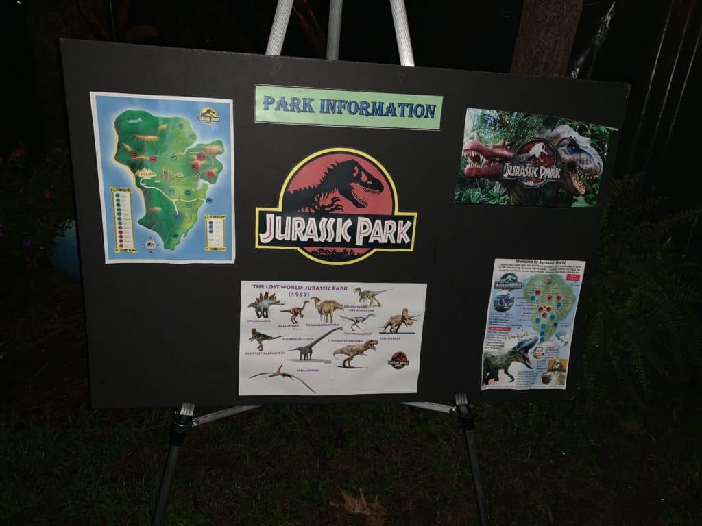 halloween camping jurassic park theme