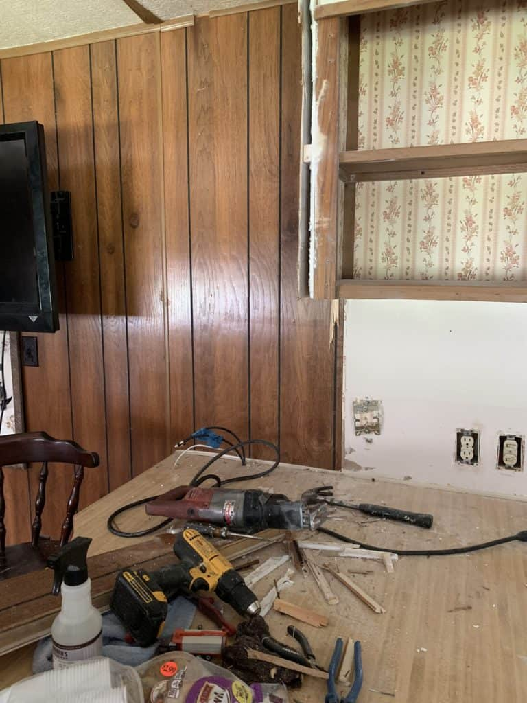 tearing out the corner cabinet in mobile home