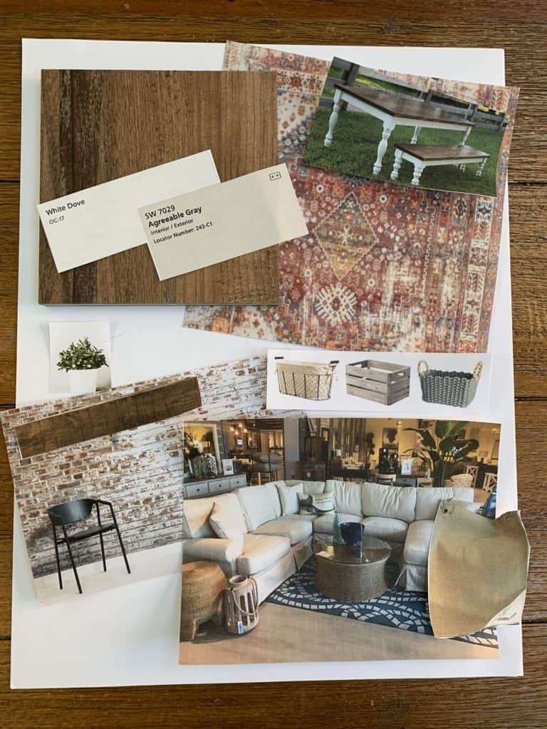 design board for our home family room remodel.  Plan your room with me.