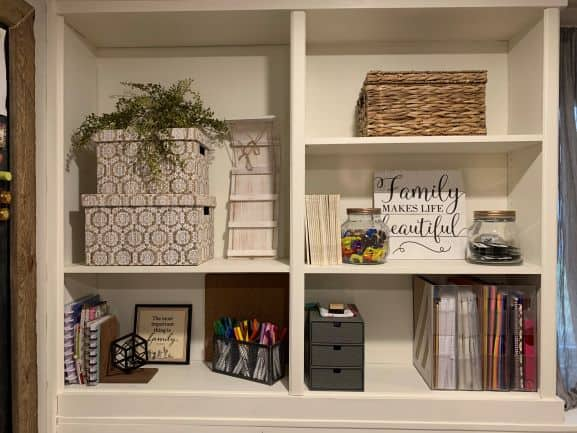 accessories on our farmhouse style bookcase