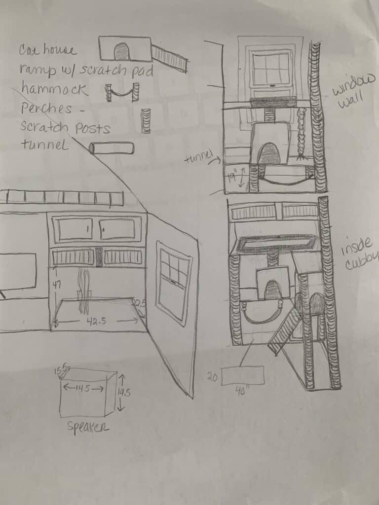 handrawn sketch of cat furniture