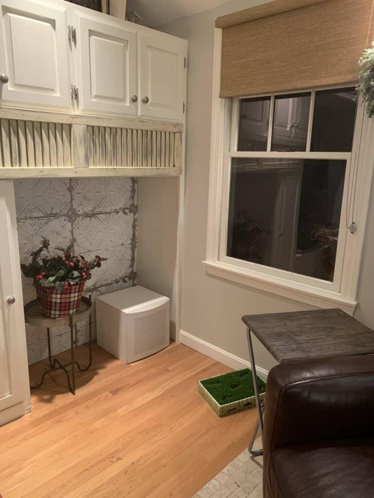 corner of my living room built ins