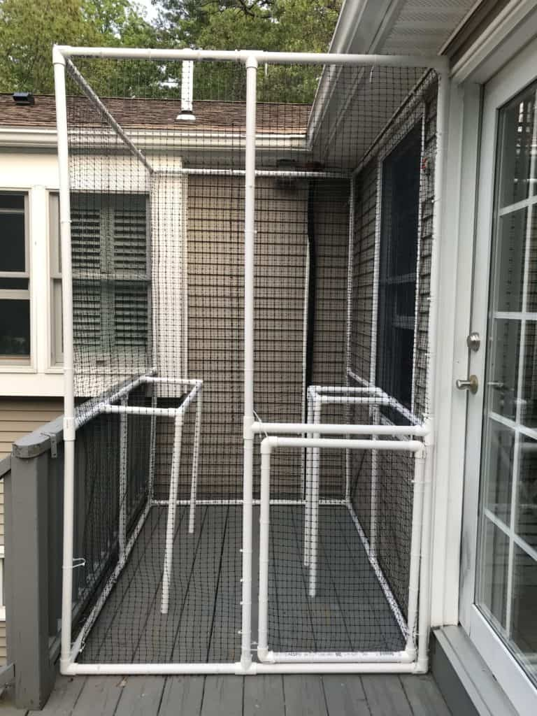 frame built and fenced for a custom made catio or cat enclosure