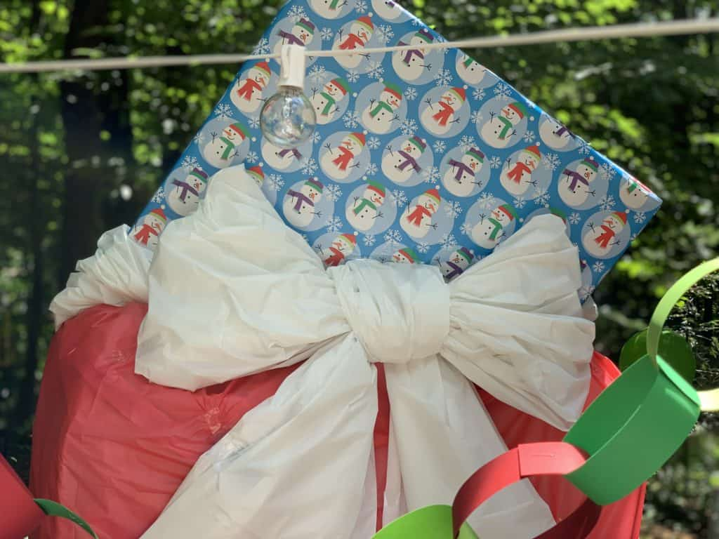 top of homemade santa bag for christmas in july