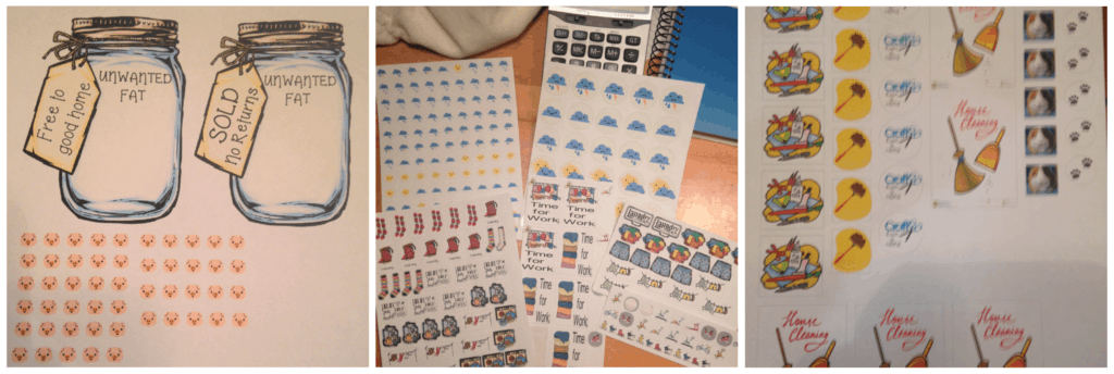 Cricut projects of planner stickers.  Diet jars, chore stickers, weather stickers.  What do you do with a Cricut machine?