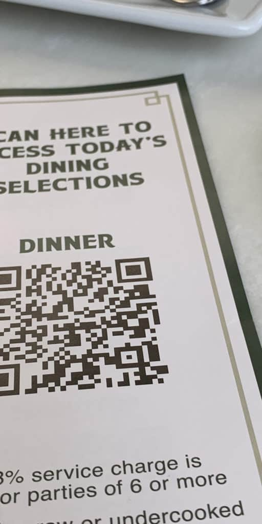 Scannable menus at Disney World