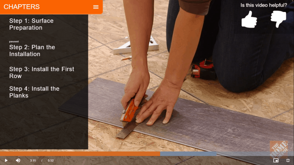 how to install vinyl plank flooring.  Cutting the planks