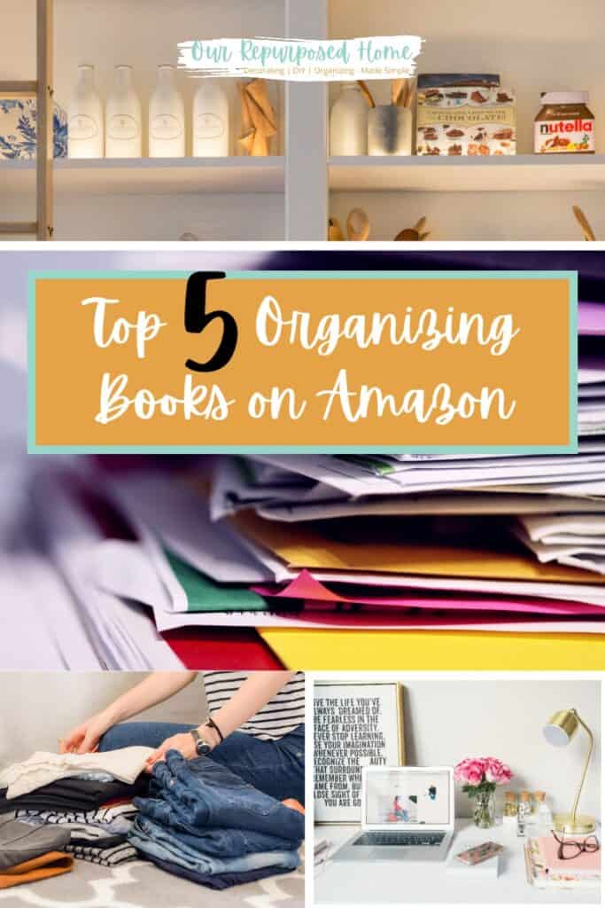 cluttered papers and organized bookshelves