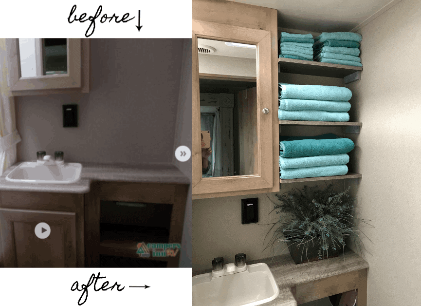 RV Renovation of bathroom, before and  after