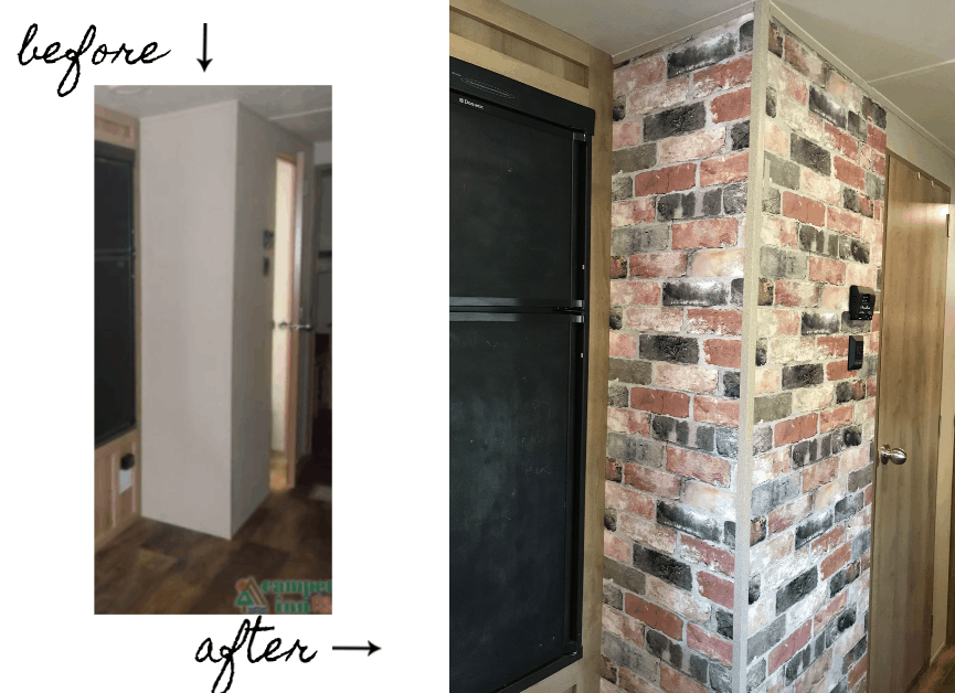 RV Renovation in the farmhouse style.  Before and after of the faux chimney