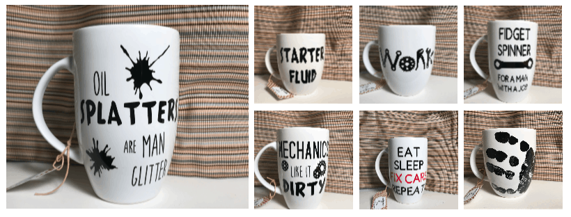 """picture of assorted """"car guy"""" mugs designed with the Cricut Machine and vinyl.  What do you do with a Cricut machine?"""