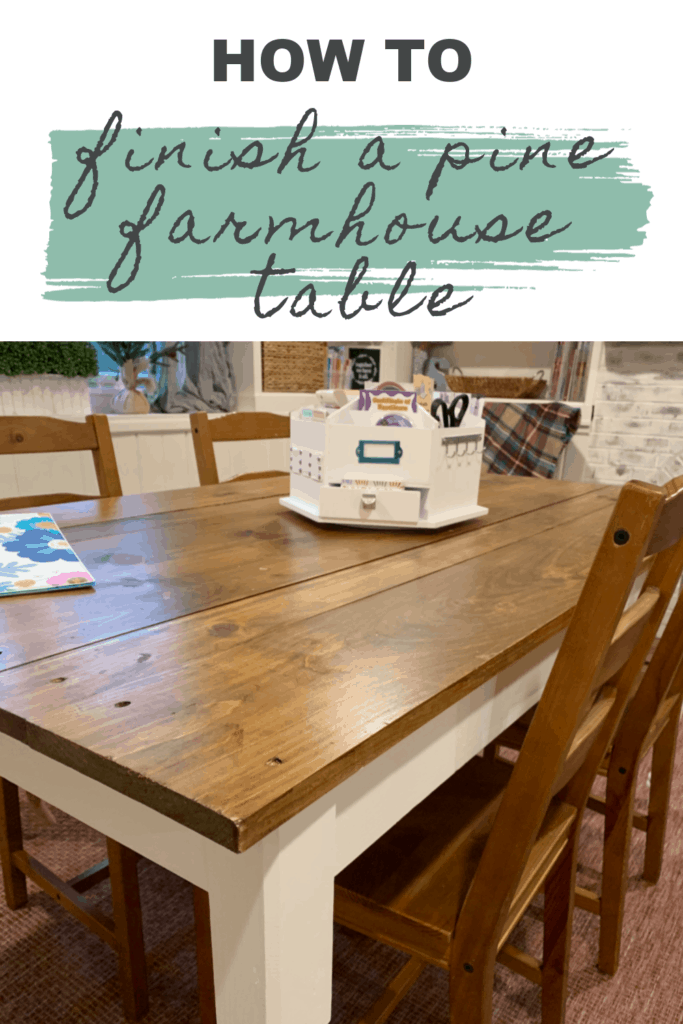 How to finish a pine farmhouse table.  Tabletop image after finishing