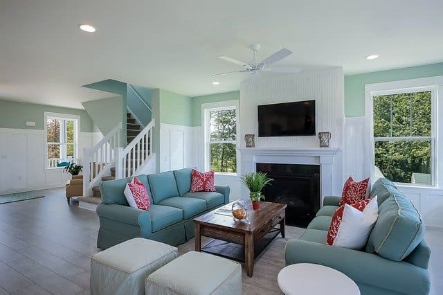 pretty blue and white living room