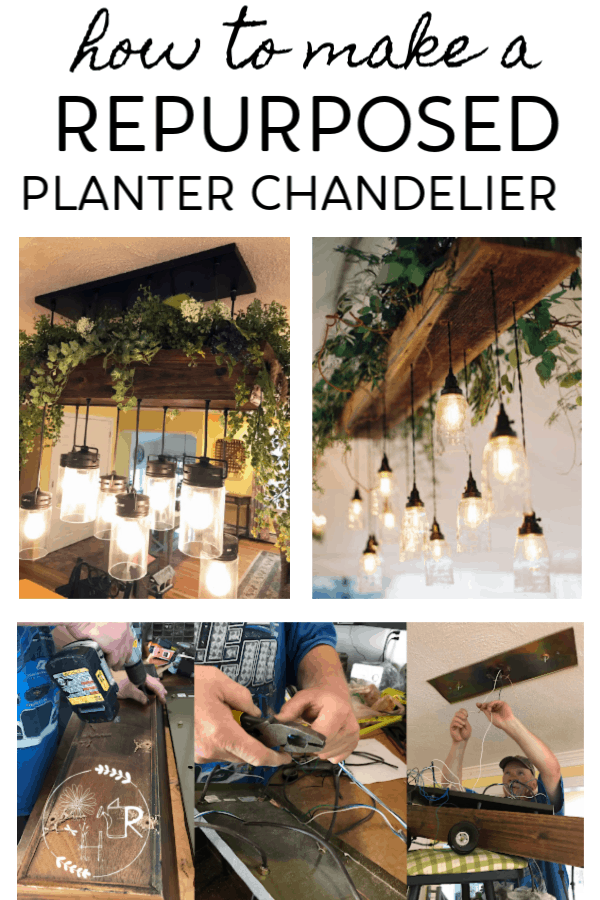 pin for making a planter chandelier with images of 2 styles