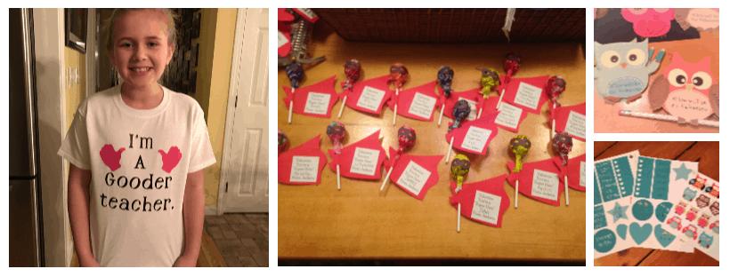 "pics of custom t-shirt ""I'm a gooder teacher"", superhero lollipop valentines, owl valentines, girl planner stickers.  What do you do with a Cricut machine?"
