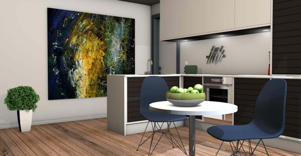 artwork hung on kitchen wall - easy DIY home decorating ideas