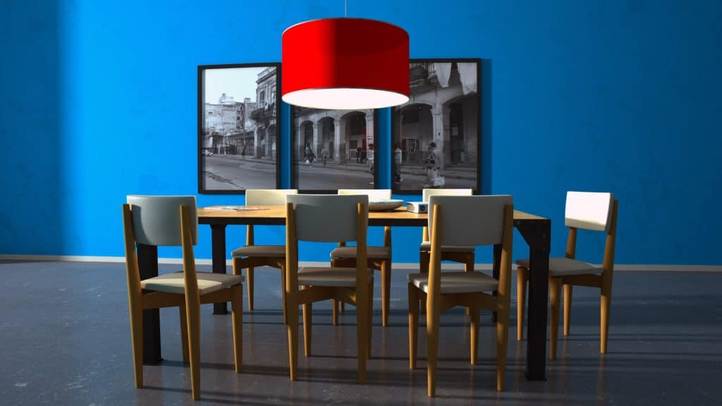 bold blue dining room- easy DIY home decorating ideas