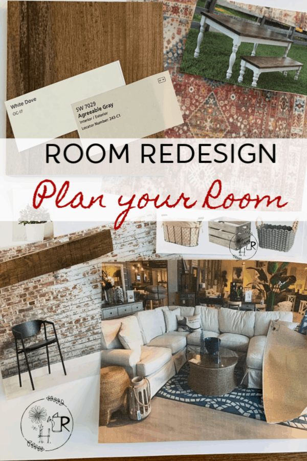 pin for remodeling any room in your home showing a design board
