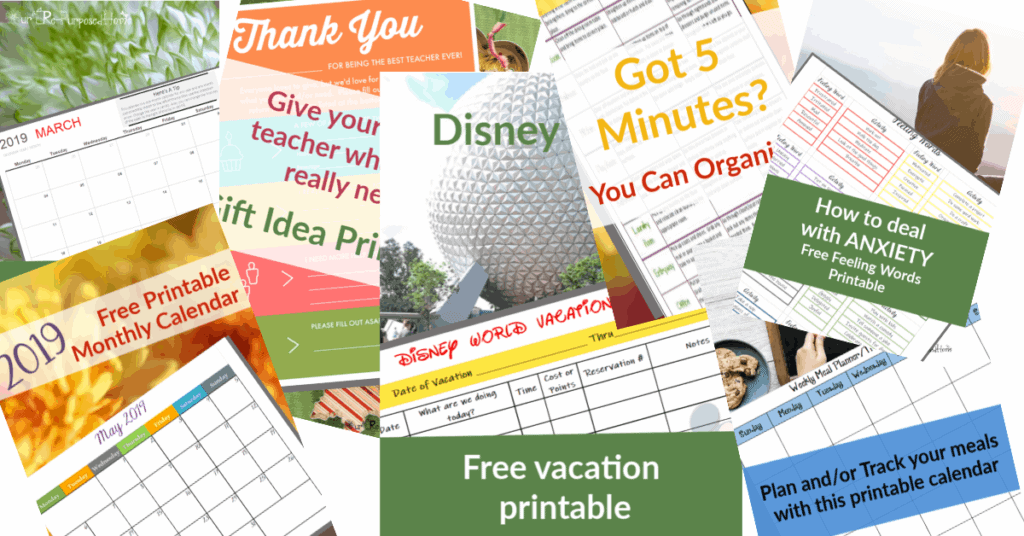 image of lots of free printables included in this library...checklists, planner pages, charts, calendars, and more
