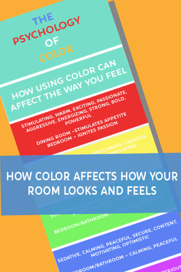 pinnable image of colored rectangles with information about what color can do for your room