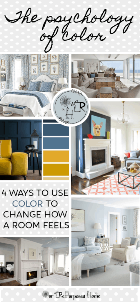 Pin of 4 ways to use color to change how a room feels with images of beautiful rooms