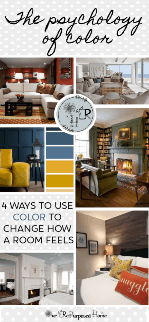 pin of the psychology of color with pictures of beautiful rooms