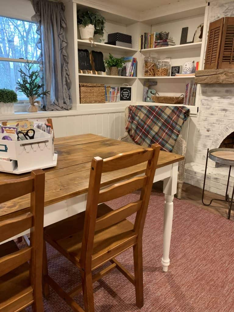 How to finish a pine farmhouse table.  Finished table in room.
