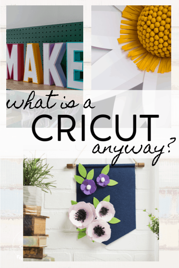 What is a Cricut anyway?  Pic of different projects you can make such as a make it sign, floral art and banner.