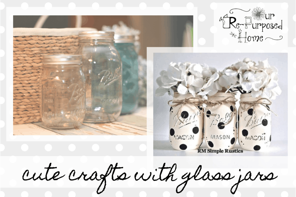 what to do with empty glass jars.  Images showing empty jars turned into pretty polka dotted jars with flowers.